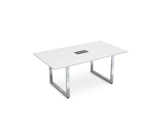 Стол для переговоров на О-образном металлокаркасе GLOSS LINE ALSAV НСП-О.938 БЕЛЫЙ ПРЕМИУМ 1800х1000х750, Цвет товара: Белый премиум