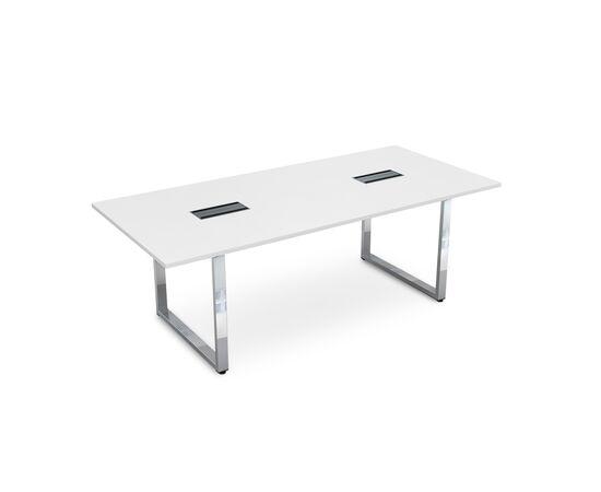 Стол для переговоров на О-образном металлокаркасе GLOSS LINE ALSAV НСП-О.939 БЕЛЫЙ ПРЕМИУМ 2200х1000х750, Цвет товара: Белый премиум