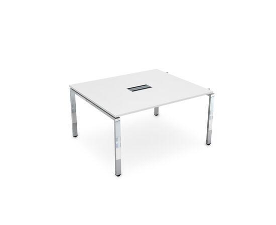 Начальный элемент переговорного стола на П-образном металлокаркасе GLOSS LINE ALSAV НСПН-П.927 БЕЛЫЙ ПРЕМИУМ 1400х1200х750, Цвет товара: Белый премиум