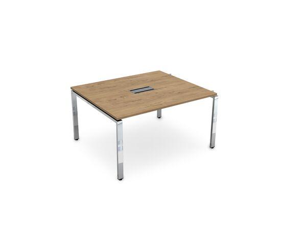 Начальный элемент переговорного стола на П-образном металлокаркасе GLOSS LINE ALSAV НСПН-П.927 TEAKWOOD 1400х1200х750, Цвет товара: TeakWood