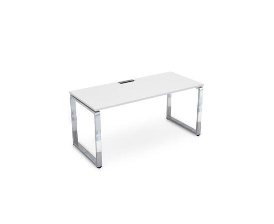 Стол прямой письменный  на О-образном металлокаркасе GLOSS LINE ALSAV НСР-О.004 БЕЛЫЙ ПРЕМИУМ 1600х700х750, Цвет товара: Белый премиум