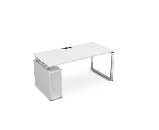 Стол прямой письменный с тумбой под системный блок на О-образном металлокаркасе GLOSS LINE ALSAV НССБ-О.984 БЕЛЫЙ ПРЕМИУМ 1600х800х750, Цвет товара: Белый премиум