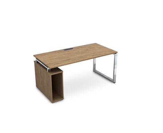 Стол прямой письменный с тумбой под системный блок на О-образном металлокаркасе GLOSS LINE ALSAV НССБ-О.984 TEAKWOOD 1600х800х750, Цвет товара: TeakWood