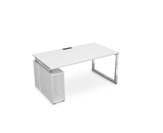 Стол прямой письменный с тумбой под системный блок на О-образном металлокаркасе GLOSS LINE ALSAV НССБ-О.994 БЕЛЫЙ ПРЕМИУМ 1600х900х750, Цвет товара: Белый премиум