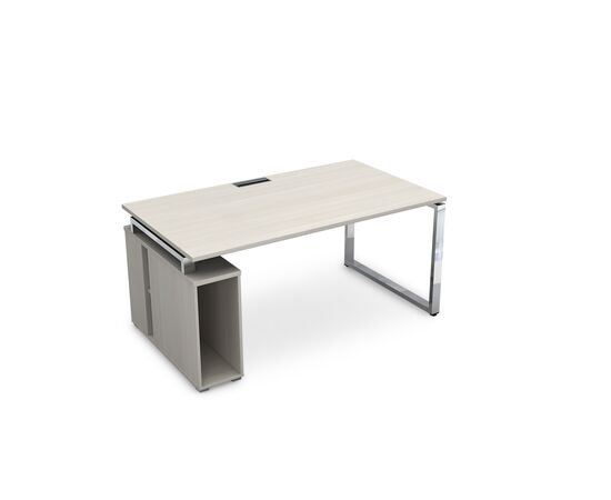 Стол прямой письменный с тумбой под системный блок на О-образном металлокаркасе GLOSS LINE ALSAV НССБ-О.994 IVORY 1600х900х750, Цвет товара: Ivory