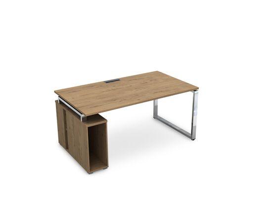 Стол прямой письменный с тумбой под системный блок на О-образном металлокаркасе GLOSS LINE ALSAV НССБ-О.994 TEAKWOOD 1600х900х750, Цвет товара: TeakWood