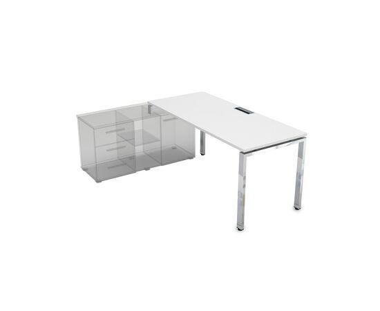 Стол прямой письменный на П-образном металлокаркасе (для опорной тумбы) GLOSS LINE ALSAV НСТЛ-П.974 БЕЛЫЙ ПРЕМИУМ 1600х700х750, Цвет товара: Белый премиум