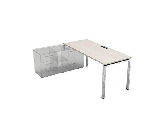 Стол прямой письменный на П-образном металлокаркасе (для опорной тумбы) GLOSS LINE ALSAV НСТЛ-П.974 IVORY 1600х700х750, Цвет товара: Ivory