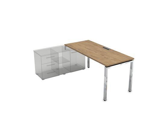 Стол прямой письменный на П-образном металлокаркасе (для опорной тумбы) GLOSS LINE ALSAV НСТЛ-П.974 TEAKWOOD 1600х700х750, Цвет товара: TeakWood