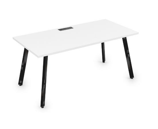 Стол прямой письменный Arredo ALSAV 10СР.084 Белый премиум / Черный глянец 1600х800х750, Цвет товара: Белый премиум / Черный глянец