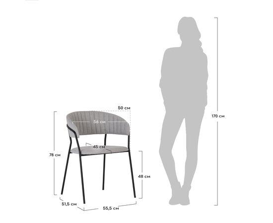 Стул Turin светло-серая рогожка с чёрными ножками Bradex Home, изображение 9