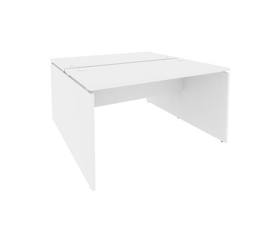 Офисные стол на 2 рабочих места Onix RIVA O.D.RS-2.3.7 Белый Бриллиант 1380x1475x750, Цвет товара: Белый бриллиант