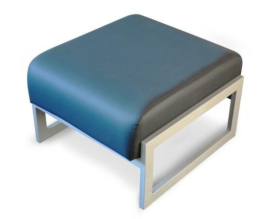 Пуф Сигма 660х690х450 Экокожа/Каркас алюминий Alfa, Цвет товара: Синий