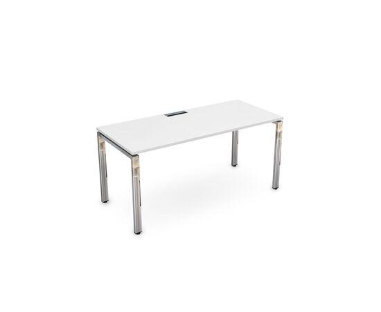 Стол прямой письменный на П-образном  металлокаркасе GLOSS LINE ALSAV НСР-П.004 БЕЛЫЙ ПРЕМИУМ 1600х700х750, Цвет товара: Белый премиум