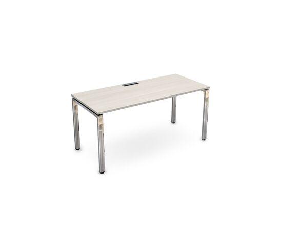 Стол прямой письменный на П-образном  металлокаркасе GLOSS LINE ALSAV НСР-П.004 IVORY 1600х700х750, Цвет товара: Ivory
