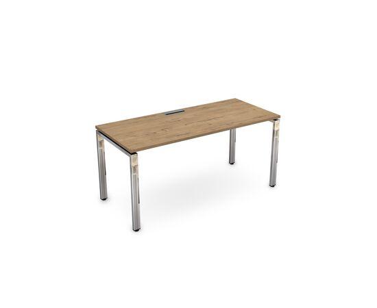 Стол прямой письменный на П-образном  металлокаркасе GLOSS LINE ALSAV НСР-П.004 TEAKWOOD 1600х700х750, Цвет товара: TeakWood
