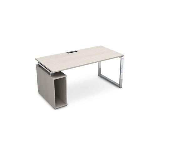 Стол прямой письменный с тумбой под системный блок на О-образном металлокаркасе GLOSS LINE ALSAV НССБ-О.984 IVORY 1600х800х750, Цвет товара: Ivory