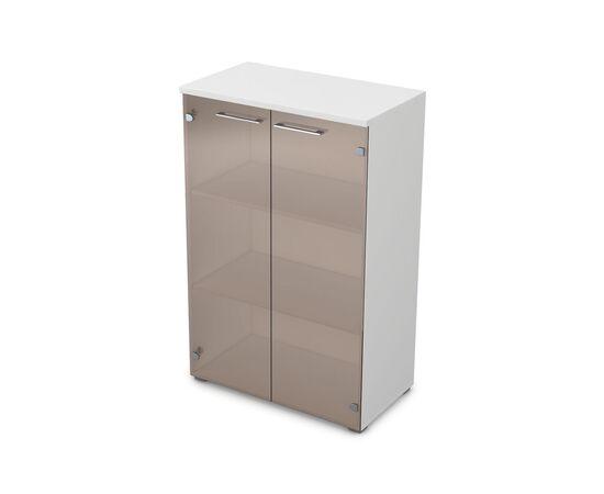 Шкаф для документов средний GLOSS LINE ALSAV 9НШ.017.3 БЕЛЫЙ ПРЕМИУМ 800*450*1245, Цвет товара: Белый премиум