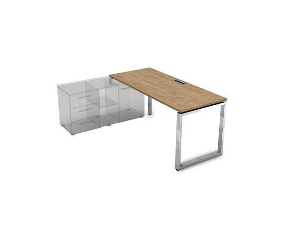 Стол прямой письменный на О-образном металлокаркасе (для опорной тумбы) GLOSS LINE ALSAV НСТЛ-О.974 TEAKWOOD 1600х700х750, Цвет товара: TeakWood