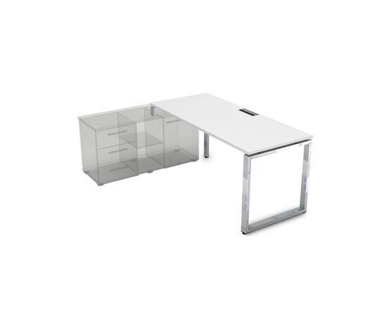 Стол прямой письменный на О-образном металлокаркасе (для опорной тумбы) GLOSS LINE ALSAV НСТЛ-О.974 БЕЛЫЙ ПРЕМИУМ 1600х700х750, Цвет товара: Белый премиум