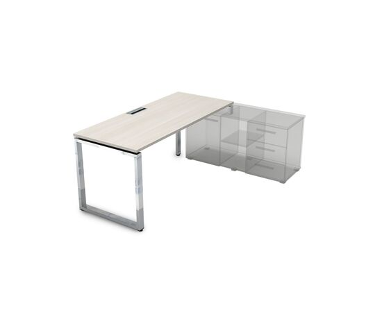 Стол прямой письменный на О-образном металлокаркасе (для опорной тумбы) GLOSS LINE ALSAV НСТП-О.974 IVORY 1600х700х750, Цвет товара: Ivory