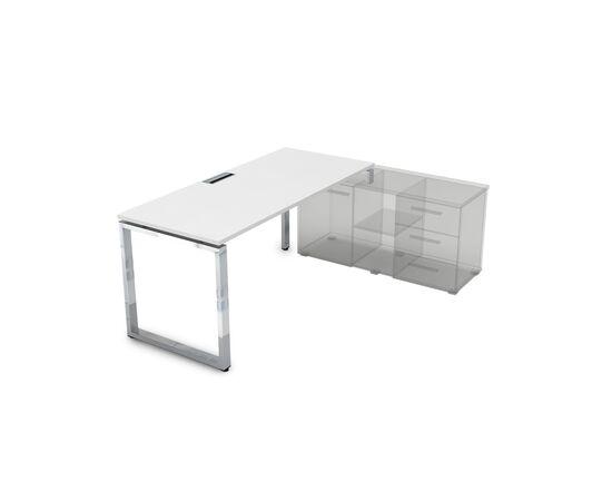 Стол прямой письменный на О-образном металлокаркасе (для опорной тумбы) GLOSS LINE ALSAV НСТП-О.974 БЕЛЫЙ ПРЕМИУМ 1600х700х750, Цвет товара: Белый премиум