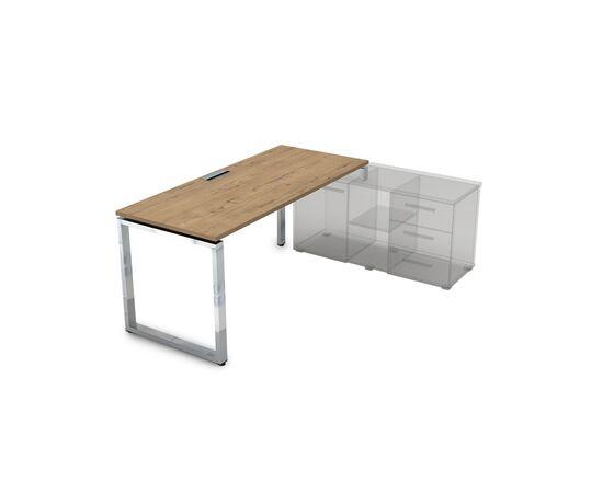 Стол прямой письменный на О-образном металлокаркасе (для опорной тумбы) GLOSS LINE ALSAV НСТП-О.974 TEAKWOOD 1600х700х750, Цвет товара: TeakWood