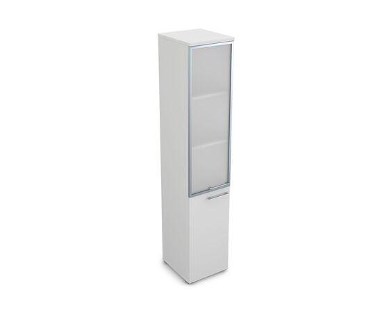 Шкаф для документов узкий высокий левый GLOSS LINE ALSAV 9НП.005.19 БЕЛЫЙ ПРЕМИУМ 400*450*2045, Цвет товара: Белый премиум