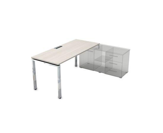 Стол прямой письменный на П-образном металлокаркасе (для опорной тумбы) GLOSS LINE ALSAV НСТП-П.974 IVORY 1600х700х750, Цвет товара: Ivory