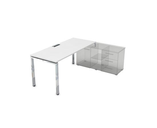 Стол прямой письменный на П-образном металлокаркасе (для опорной тумбы) GLOSS LINE ALSAV НСТП-П.974 БЕЛЫЙ ПРЕМИУМ 1600х700х750, Цвет товара: Белый премиум