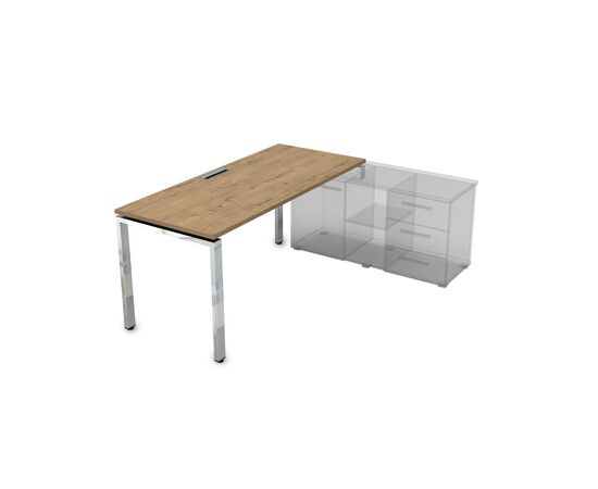 Стол прямой письменный на П-образном металлокаркасе (для опорной тумбы) GLOSS LINE ALSAV НСТП-П.974 TEAKWOOD 1600х700х750, Цвет товара: TeakWood