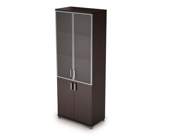 Шкаф для документов высокий (2 низкие двери ЛДСП, 2 средние двери стекло в ал.раме  ) AVANCE ALSAV 6Ш.005.4 Венге 800х450х2116, Цвет товара: Венге