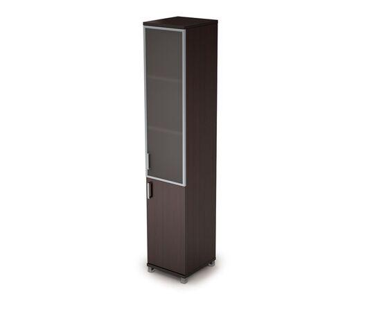 Шкаф для документов узкий правый ( 1 малая дверь ЛДСП, 1 средняя дверь стекло в ал.раме ) AVANCE ALSAV  6П.005.4 Венге 400х450х2116, Цвет товара: Венге