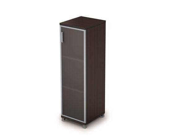 Шкаф для документов средний узкий со стеклом в алюминиевой раме Пр. AVANCE 6П.015.4 Венге 400х450х1348, Цвет товара: Венге