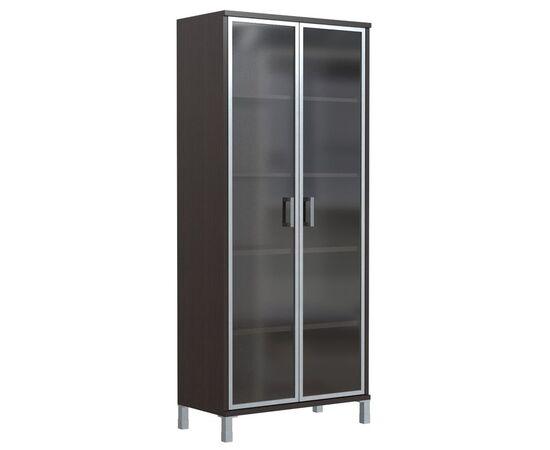 Шкаф для документов высокий со стеклянными дверьми в AL-рамке В-430.8 Венге магия Skyland Born 900х435х1904, Цвет товара: Венге магия