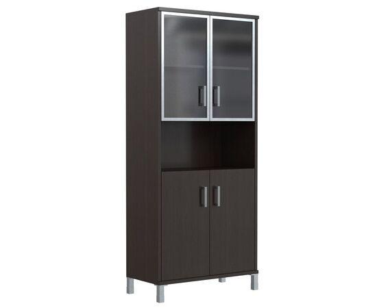 Шкаф для документов высокий с малыми стеклянными дверьми в AL-рамке В-430.9 Венге магия Skyland Born 900х435х1904, Цвет товара: Венге магия