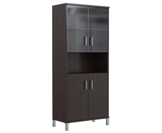 Шкаф для документов высокий с малыми стеклянными и глухими дверьми В-430.10 Венге магия Skyland Born 900х435х1904, Цвет товара: Венге магия