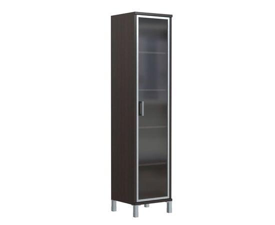 Шкаф-колонка высокая со стеклянной дверью в AL-рамке для документов в офис-В-431.8 Венге магия Skyland Born 475х435х1904, Цвет товара: Венге магия