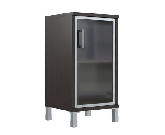 Шкаф для документов с правой стеклянной дверкой в алюминиевой раме низкий В-411.4R Венге магия Skyland Born 475х450х920, Цвет товара: Венге магия