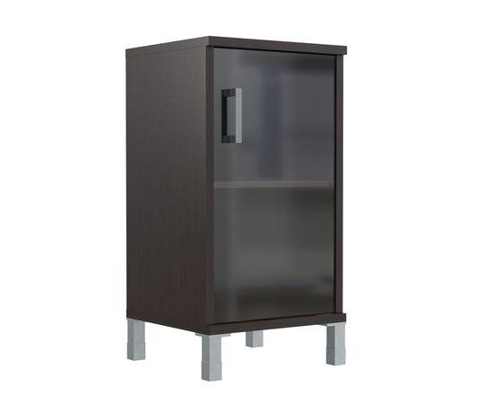 Шкаф для документов с правой стеклянной дверкой в алюминиевой раме низкий В-411.5R Венге магия Skyland Born 475х450х920, Цвет товара: Венге магия