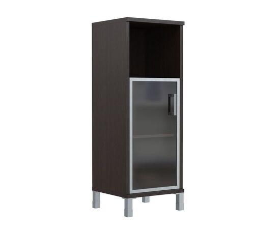 Шкаф-колонка для документов с левой дверкой стекло в алюминиевой раме средний В-421.4L Венге магия Skyland Born 475х450х1286, Цвет товара: Венге магия