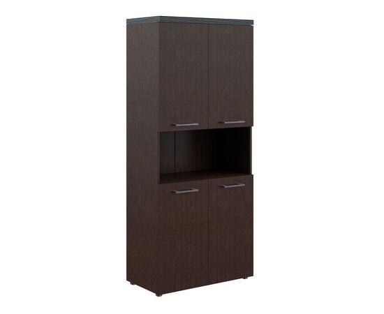 Шкаф для документов с 2-мя комплектами глухих малых дверей и топом THC 85.4 Венге 850х1930х430 Torr, Цвет товара: Венге