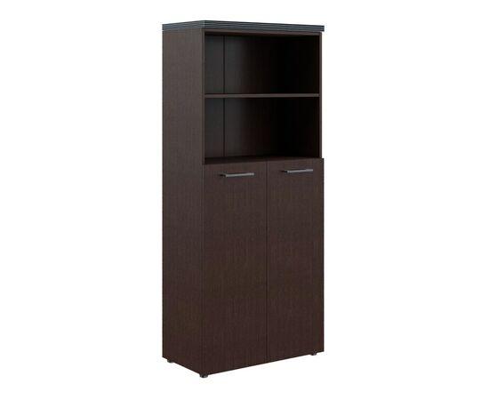 Шкаф для документов с глухими средними дверьми и топом THC 85.6 Венге 850х1930х430 Torr, Цвет товара: Венге