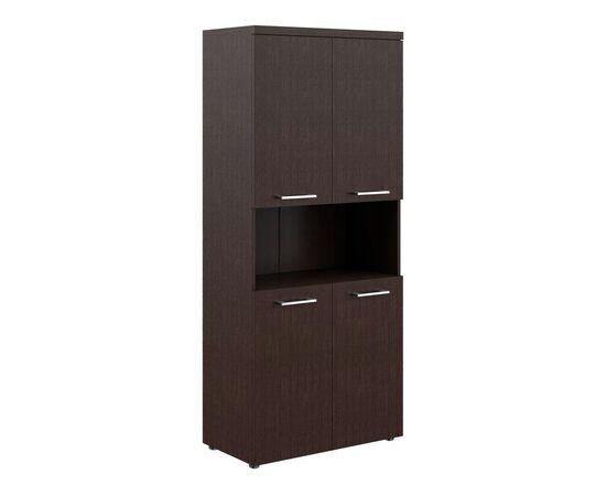 Шкаф для документов с 2-мя комплектами глухих малых дверей и топом THC 85.4 Венге 850х430х1930 Torr Z, Цвет товара: Венге магия