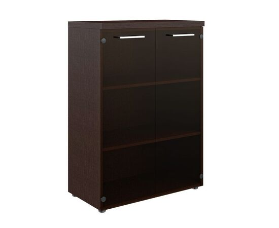 Шкаф для документов со стеклянными дверьми и топом TMC 85.2 Венге 850х430х1165 Torr Z, Цвет товара: Венге магия