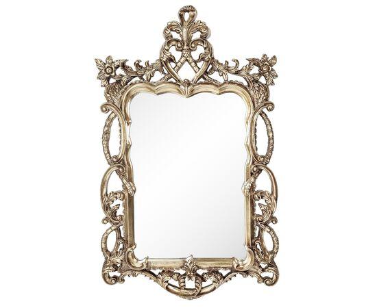 Зеркало настенное в резной раме Floret Silver (Флорет) Art-zerkalo