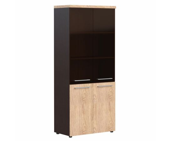 Шкаф для документов комбинированный со стеклом AHC 85.7 Дуб девон Skyland ALTO 850х430х1930, Цвет товара: Дуб девон