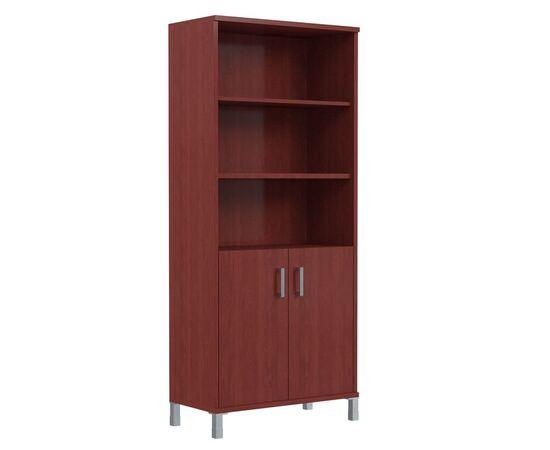 Шкаф для документов высокий с глухими малыми дверьми В-430.2 Бургунди Skyland Born 900х435х1904, Цвет товара: бургунди
