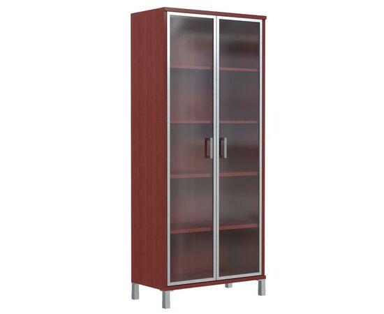 Шкаф для документов высокий со стеклянными дверьми в AL-рамке В-430.8 Бургунди Skyland Born 900х435х1904, Цвет товара: бургунди