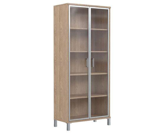 Шкаф для документов высокий со стеклянными дверьми в AL-рамке В-430.8 Дуб девон Skyland Born 900х435х1904, Цвет товара: Дуб девон